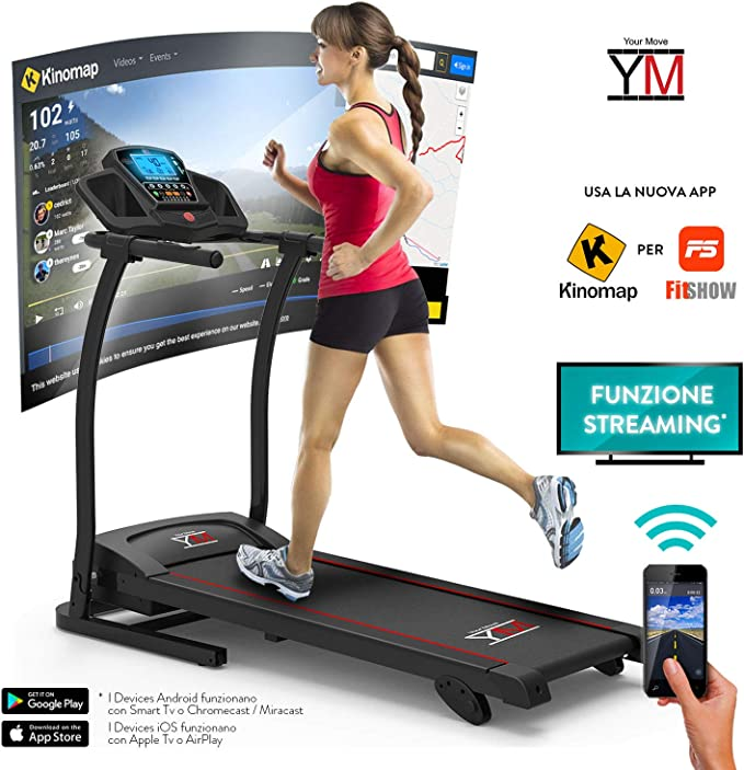 YM Folding Electric Treadmill Sensor Cardio Heart 14 Km/h MP3 Player Bluetooth Speakers 1500W Peak (3.5HP) App Fitshow Universal Holder for Tablet Smartphone