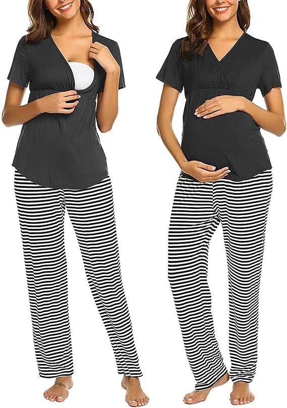 Pigiama Premaman Gravidanza Allattamento Ospedale Cotone Maniche Corte Top e Pantaloni Donna Incinta Camicia da Notte Due Pezzi Estivo maternit/à