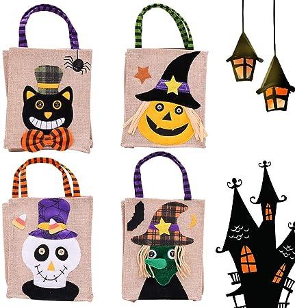 SJWR Decoración de Halloween Bar Mall Pack Cookies Apple Tote Bags Ghost Festival Cartoon Pumpkin Candy Burlap Bag ...