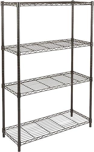 AmazonBasics 4-Shelf Adjustable, Heavy Duty Storage Shelving Unit 350 lbs loading capacity per shelf , Steel Organizer Wire Rack, Black 36L x 14W x 54H