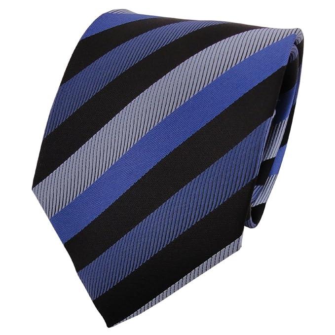 Corbata en azul-tráfico azul gris royal negro rayas: Amazon.es ...