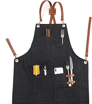 BBQ vintage crafts Canvas Leather Welding Tool Chef Kitchen Bib Apron with Pockets Professional Grade Chef Apron for Kitchen and Grill