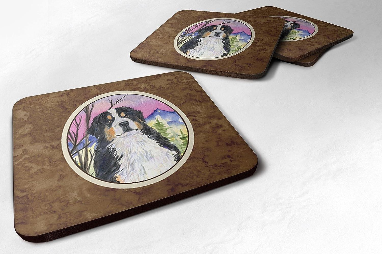 Caroline 's Treasures ss8336fcのセット4 Bernese Mountain Dog Foamコースター、3 1 / 2 x 3 1 / 2、マルチカラー   B071S8997J