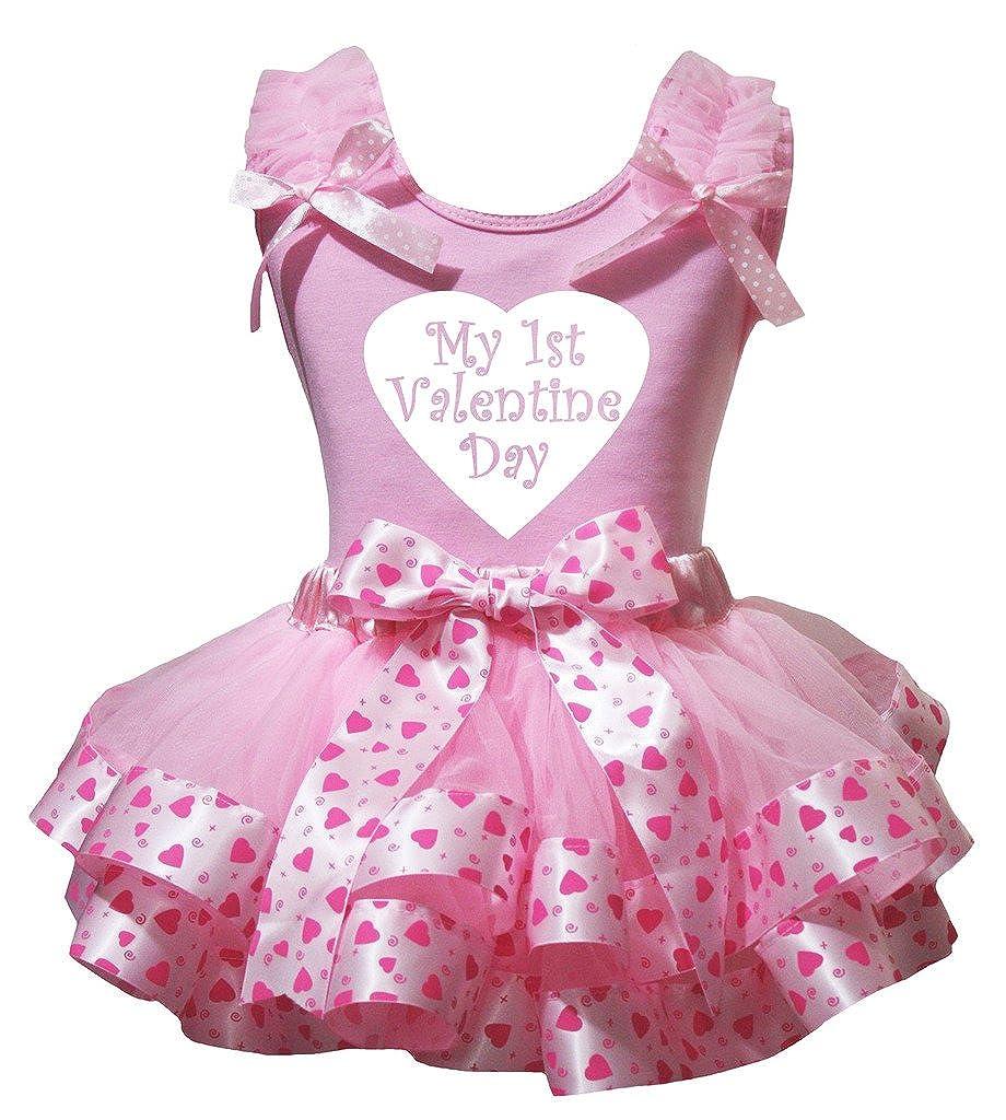 Petitebella 1st Valentine Day Shirt Pink Heart Petal Skirt Outfit Set Nb-8y