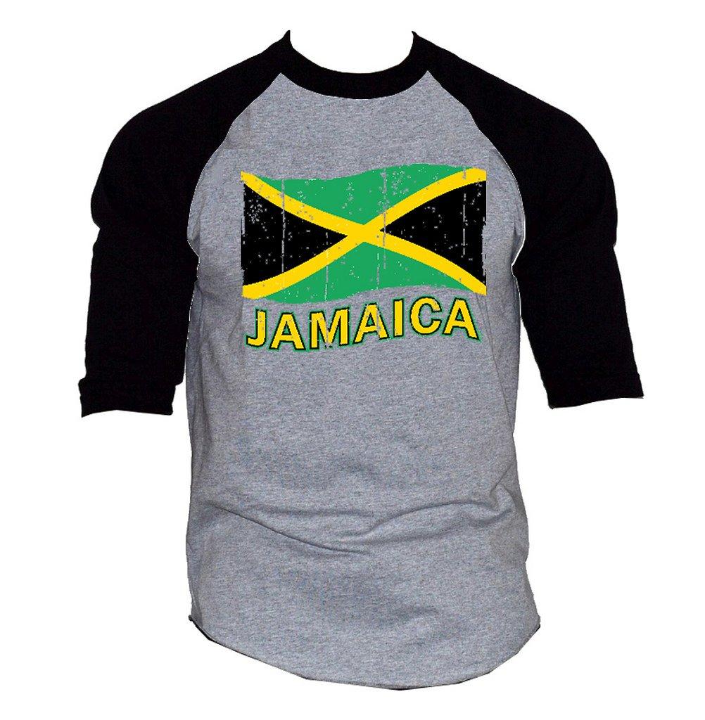 Interstate Apparel Inc Men's Grunge Jamaica Flag Tee Gray/Black Raglan Baseball T-Shirt Gray/Black