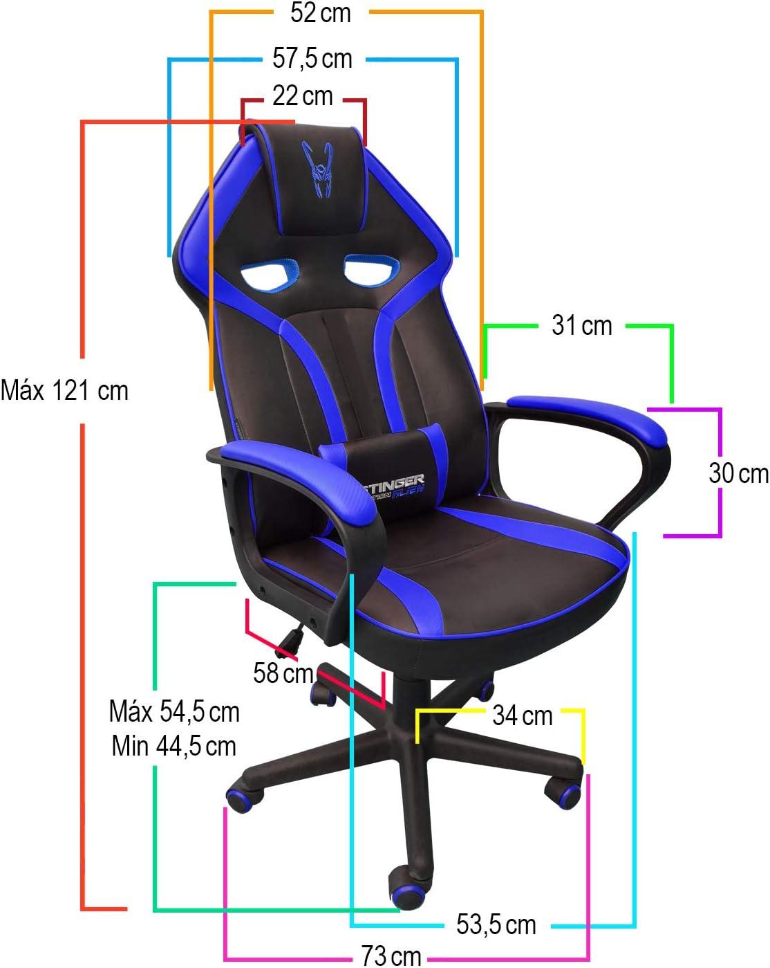 /sedia da scrivania//Gaming Stinger Station Alien Blue/ colore blu Pelle sintetica, cuscino lombare, Braccioli, poggiatesta imbottito, altezza regolabile