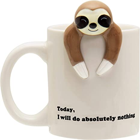 Funny Sloth Coffee Mug, Funny Sloth Gifts For Women and Men (Will Do Absolutely Nothing)