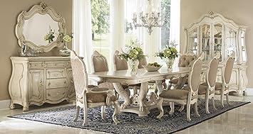 aico amini chateau de lago dining room furniture set in blanc ivory 11 pc set