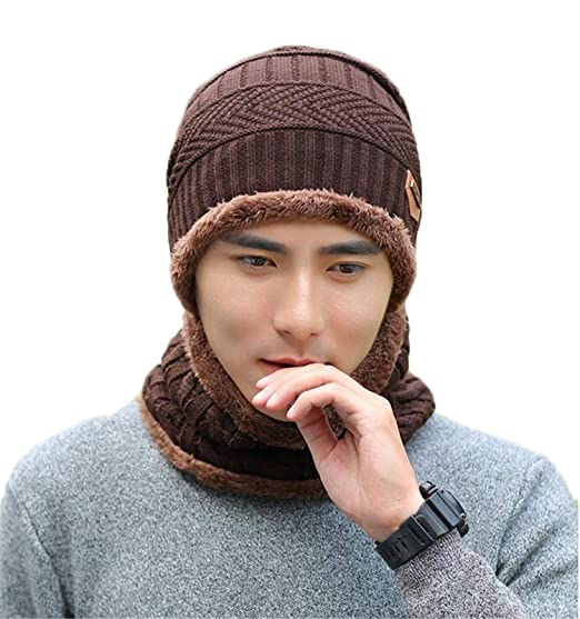 c2f4cd3c04cacb Image Unavailable. Image not available for. Color: Men Beanies Hat Scarves 2 -Pieces Set Warm Knit ...