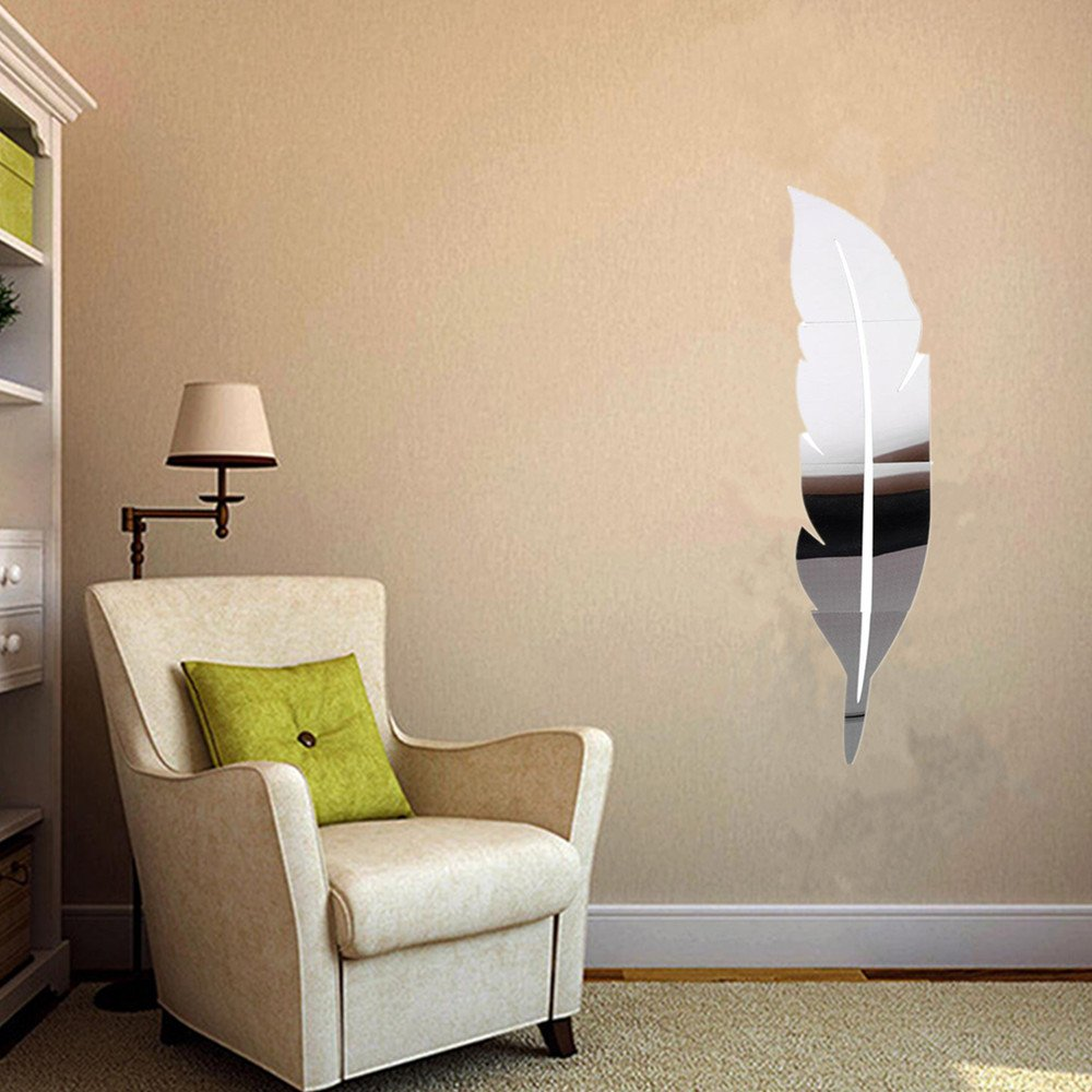 Amazon soledi wall mirror diy 3d feather mirror wall vinyl amazon soledi wall mirror diy 3d feather mirror wall vinyl decal sticker art home mural decor home kitchen amipublicfo Image collections