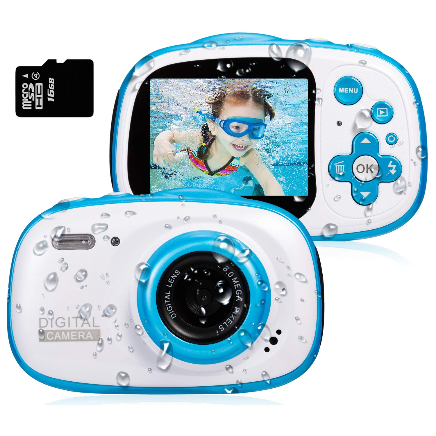 Dessports Toy Camera Waterproof HD Video Cameras for Kids Digital Camcorder Cute Children's Zoom Camera Birthday Gift for Kids 6-9 for Swimming, Blue (16G Memory Card Included)