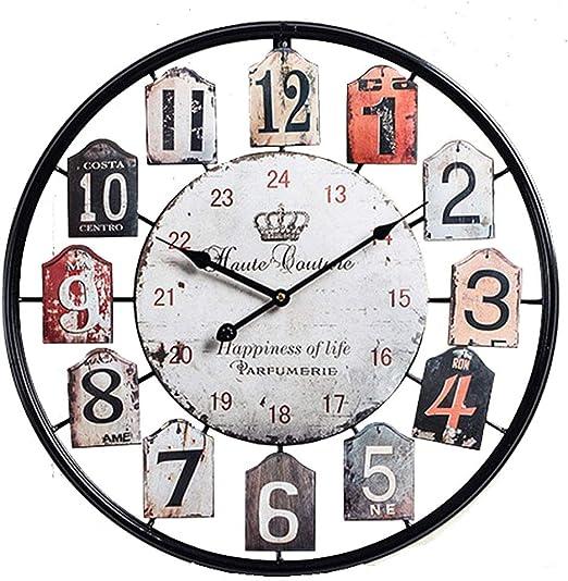 Sufei - Reloj de pared para jardín, exterior, casa, silencioso, metal vintage, reloj decorativo, grandes regalos de Navidad, hotel, bar, oficina, 50 cm, negro: Amazon.es: Hogar