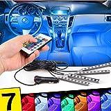 XMONY 車内 イルミネーション 5050-SMD LEDテープライト RGB 7色切替 リモコン付き 高輝度 車内照明 車内装飾用 シガーソケット付き 36LED 4本