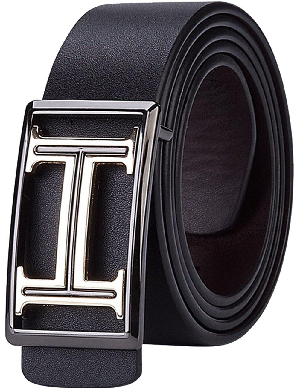 Menschwear Men's Geniune Leather Belt with Slide Metal Buckle 38mm Black
