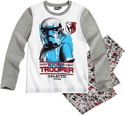 Star Wars Pyjama Long Enfant gar/çon Blanc//Gris de 6 /à 12ans