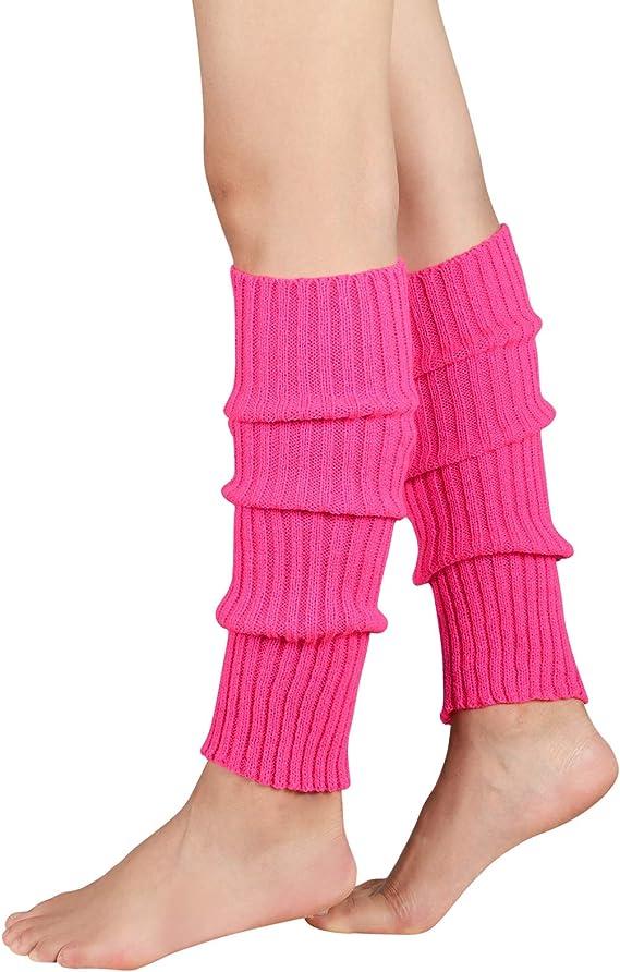 Durio Womens Fashion Leg Warmers 80s Ribbed Knit Leg Warmers Knee High Socks Warm Leg Warmer for Party Sports