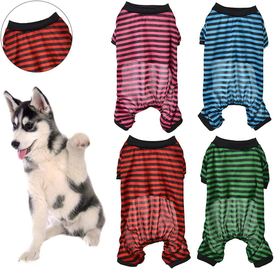xmke96 Pet Dog Pajamas Thin Striped Four-Leg Pajamas Puppy Clothing Pet Jumpsuit for Small and Medium Dogs Green Stripe S
