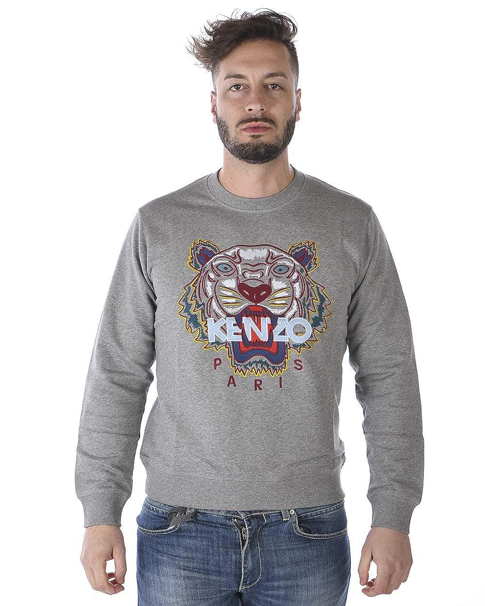 9ae2d117a3 Kenzo Mens Tiger Sweatshirt, Long Sleeve Dove Grey Sweat at Amazon ...