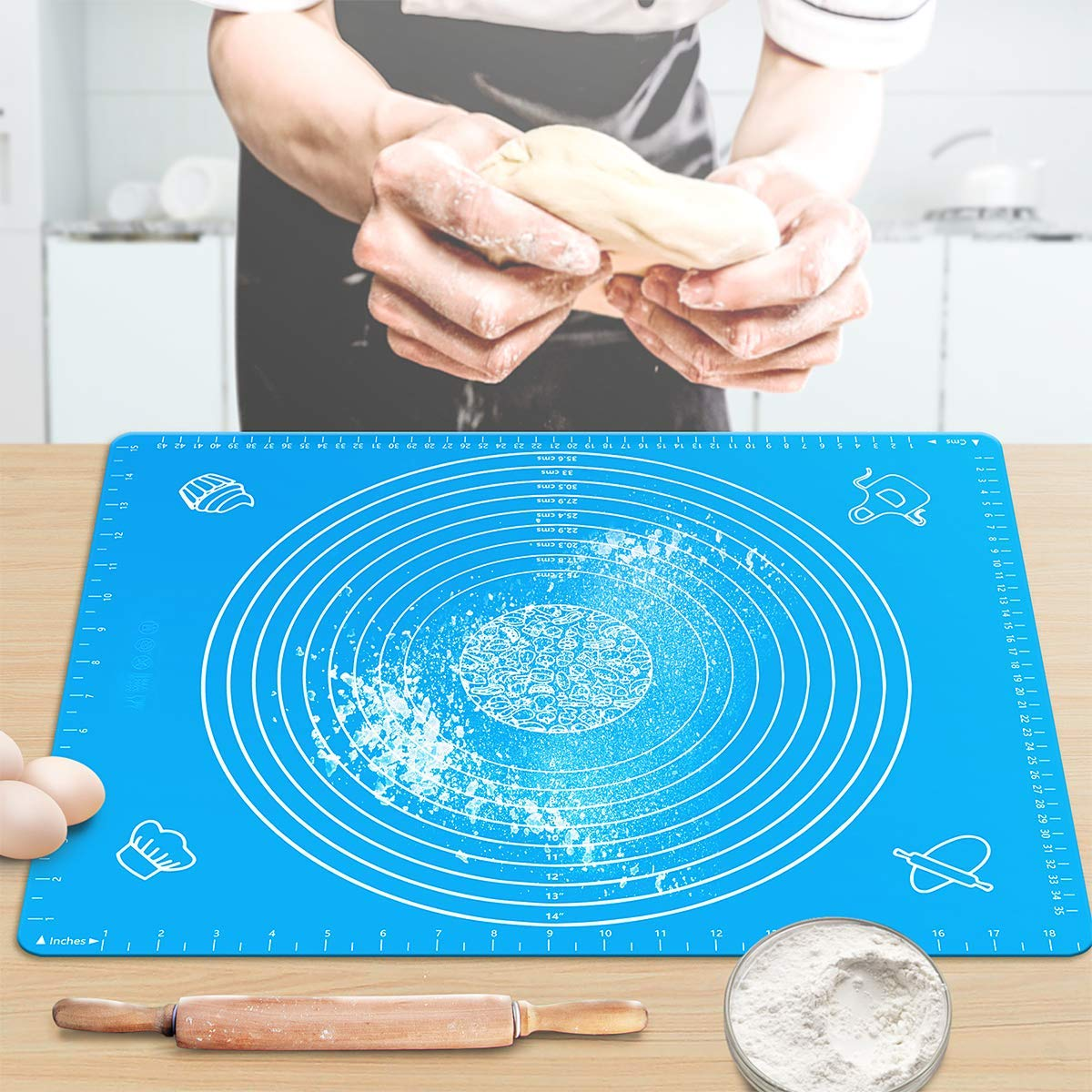 "Pastry Mat for Rolling Dough 20""x16"" Large BPA Free Silicone Pastry Kneading"
