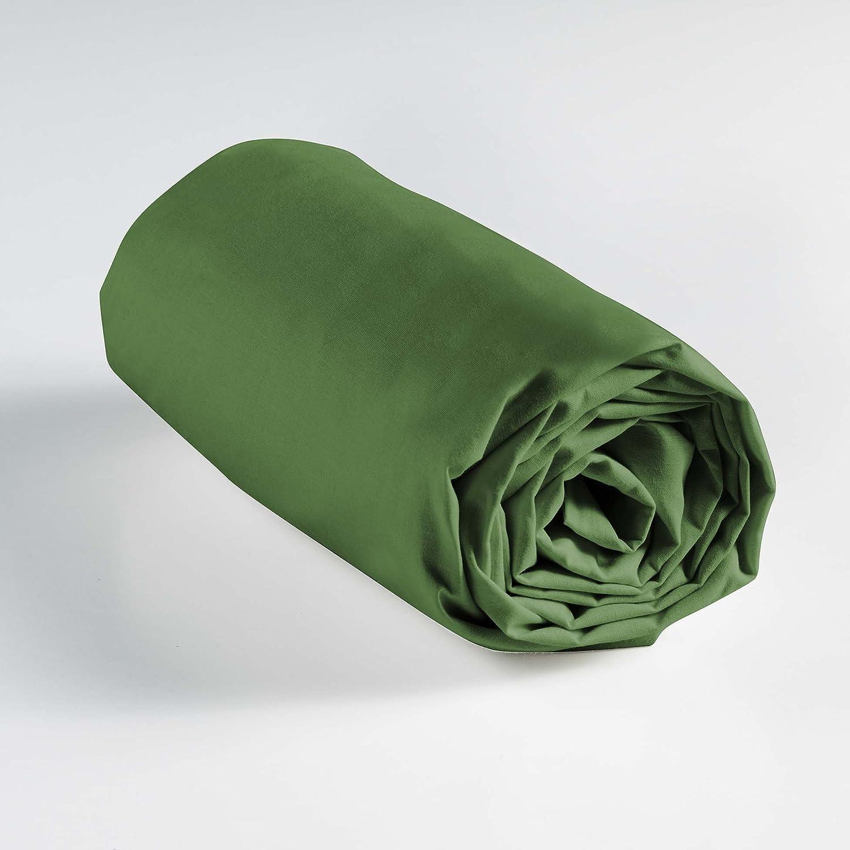 Douceur d 'Inté rieur Lina sá bana Bajera Individual, algodó n, Verde Oscuro, 90 x 190 cm algodón 90x 190cm L3C 1642635