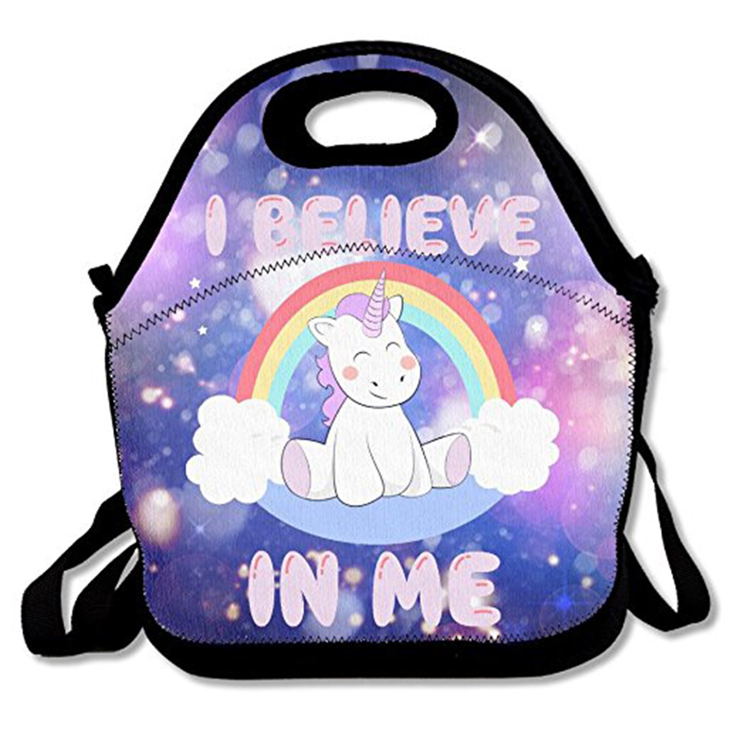 ZMvise Universe Unicorn I Believe In Me Lunch Tote Insulated Reusable Picnic Lunch Bag Lunch Box For Men Women Adults Kids Toddler Nurses ZMJingle-66