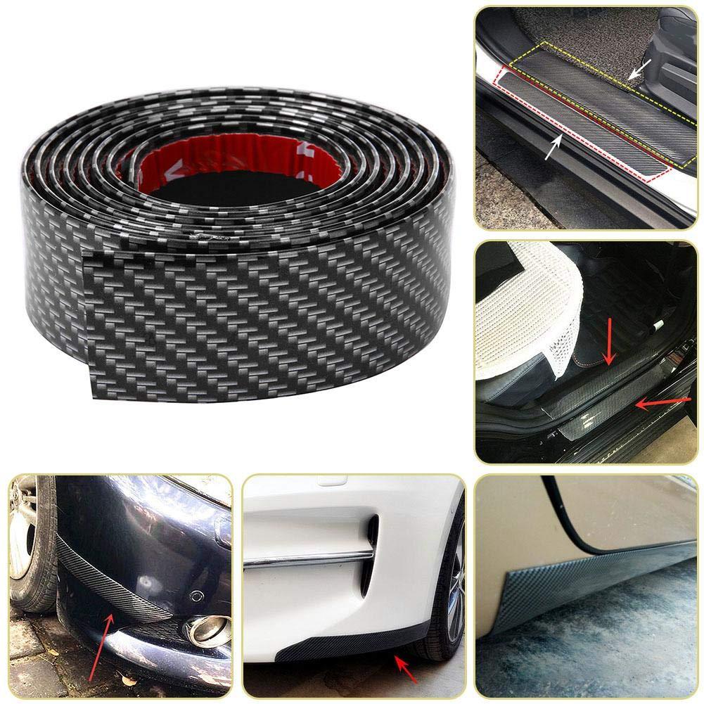 Demiawaking 1M Striscia di Protezione per Paraurti Antigraffio Spoiler Protezione Paraurti per Auto Universale in Gomma Fibra di Carbonio Striscia Protettiva per Auto Larghezza:5cm, Grigio