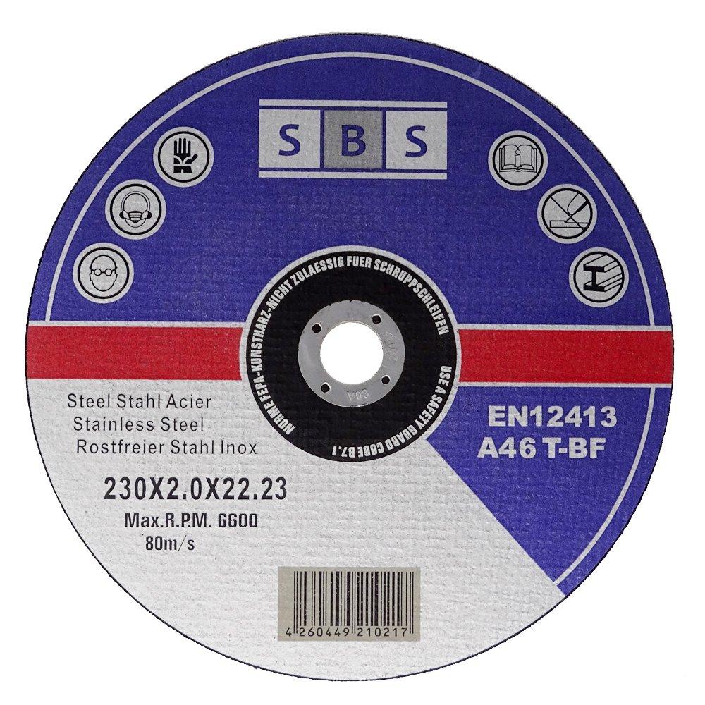 Inox - Disco de corte (230 x 2,0 mm, acero inoxidable, 100 unidades) SBS - Schlößer Baustoffe