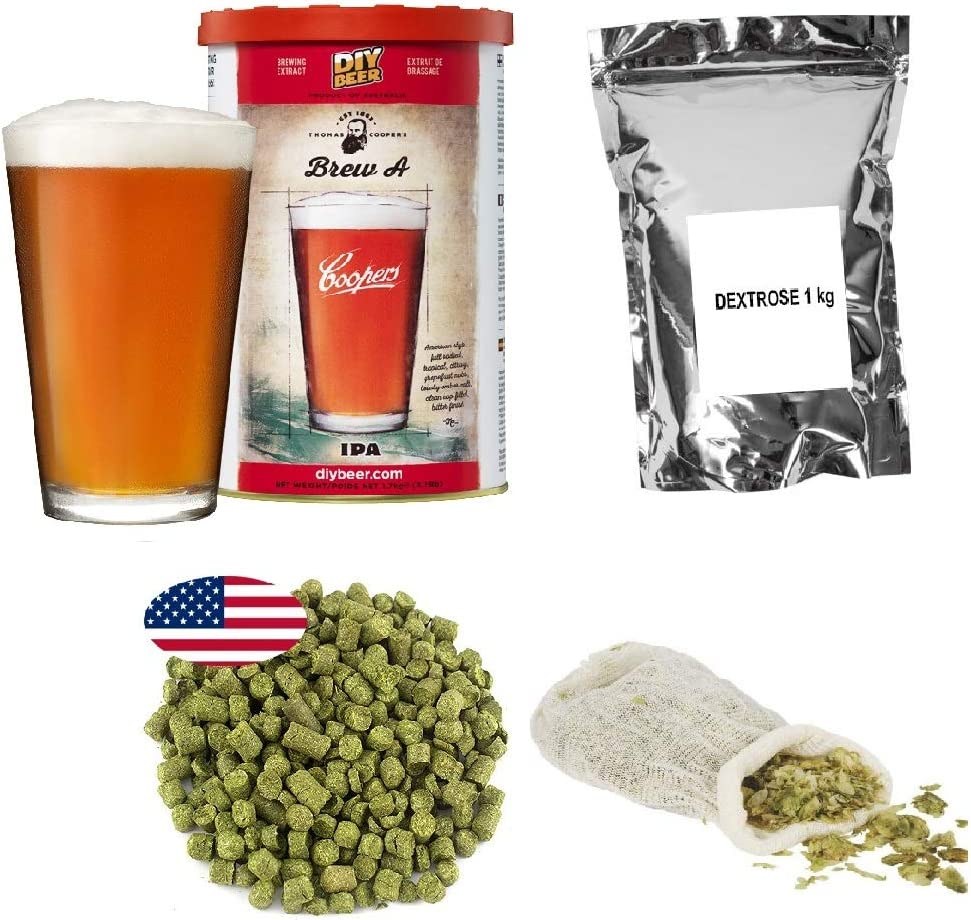 Kit de preparación – Coopers IPA + Dextrose 1 kg + Hop pellets – Cascada 25 g + Bolsa de Muselina