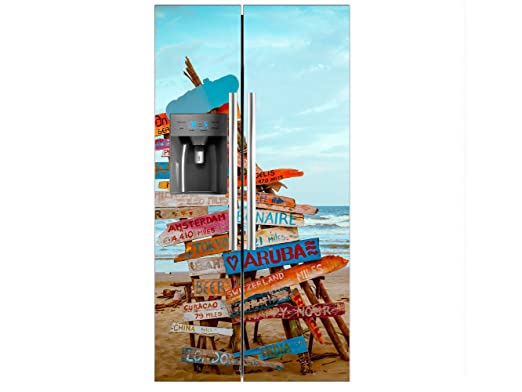 Vinilo Frigorífico Americano Señales Playa | 91x176cm | Varias ...