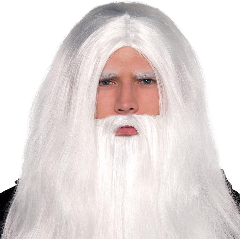 Gifts 4 All Occasions Limited SHATCHI-1328 Peluca larga de mago y barba de mago de Shatchi Merlin Gandalf