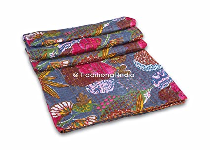 Indian Kantha Throw Floral Print Vintage Quilt Reversible Bedspread Cotton Gudri Home & Garden