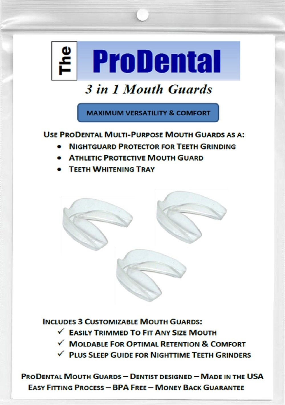 Mouth Guard from ProDental - No BPA - Teeth Grinding Night Guard, Athletic Mouth Guard, Teeth Whitening Tray - Includes 3 Customizable for Comfort Dental Guards - Hygienic, FDA Approved Soft Material - Made in USA