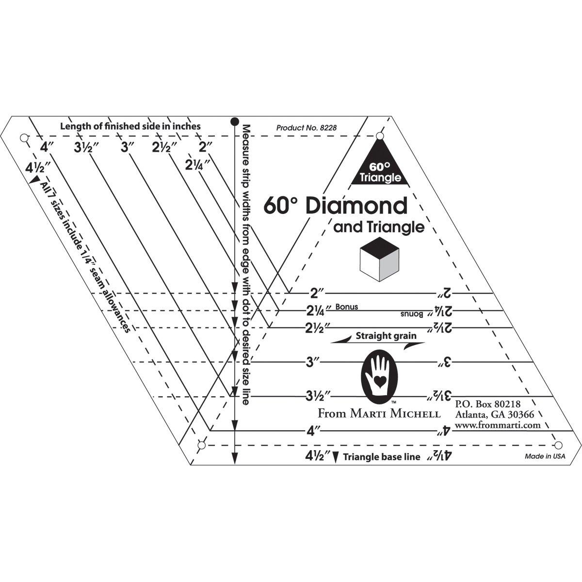 Marti Michell Marti Michell 60 gradi Diamante e Triangolo 1-mera- 1-Patch Modelli 8228M