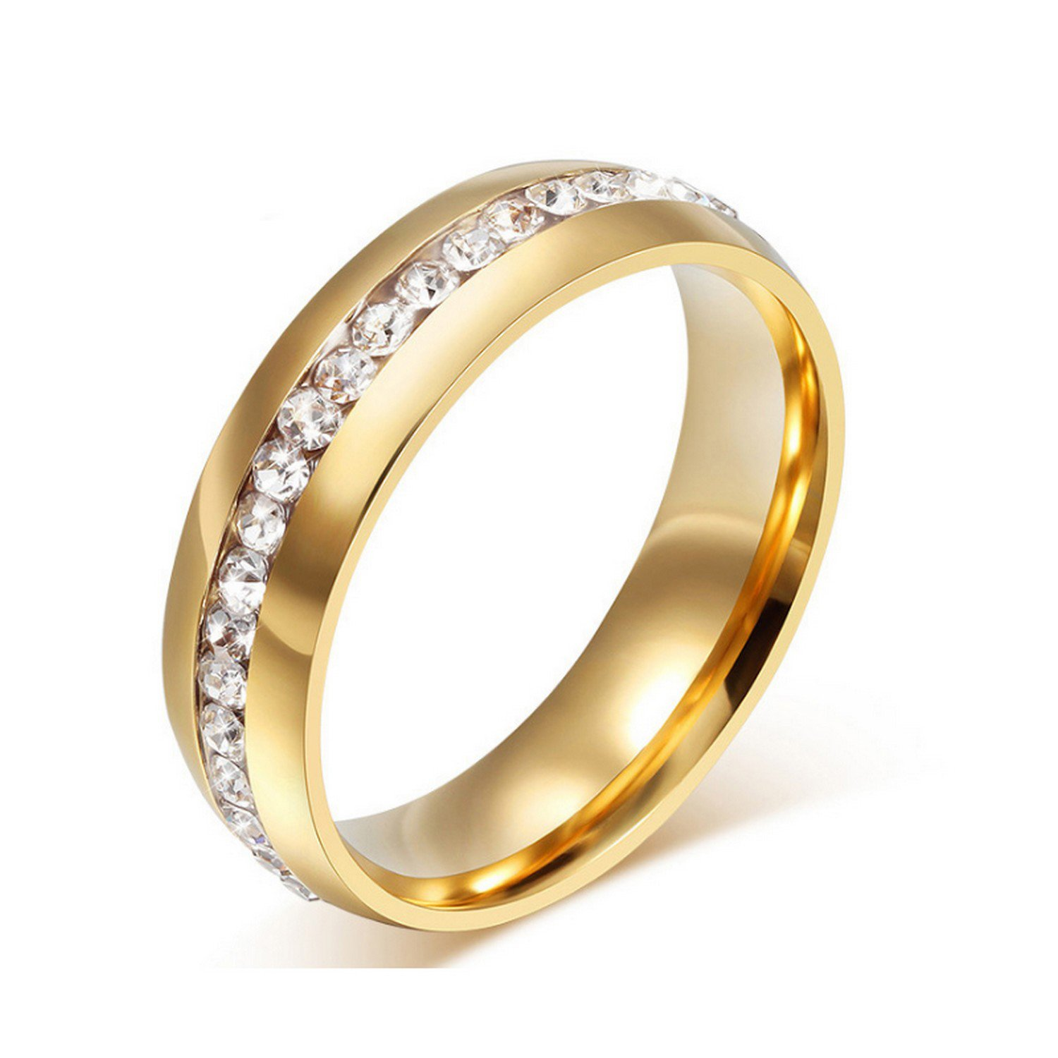 Gemmart 316 Stainless Steel Ring with Luxury cubic zirconia engagement rings ladies fashion rings
