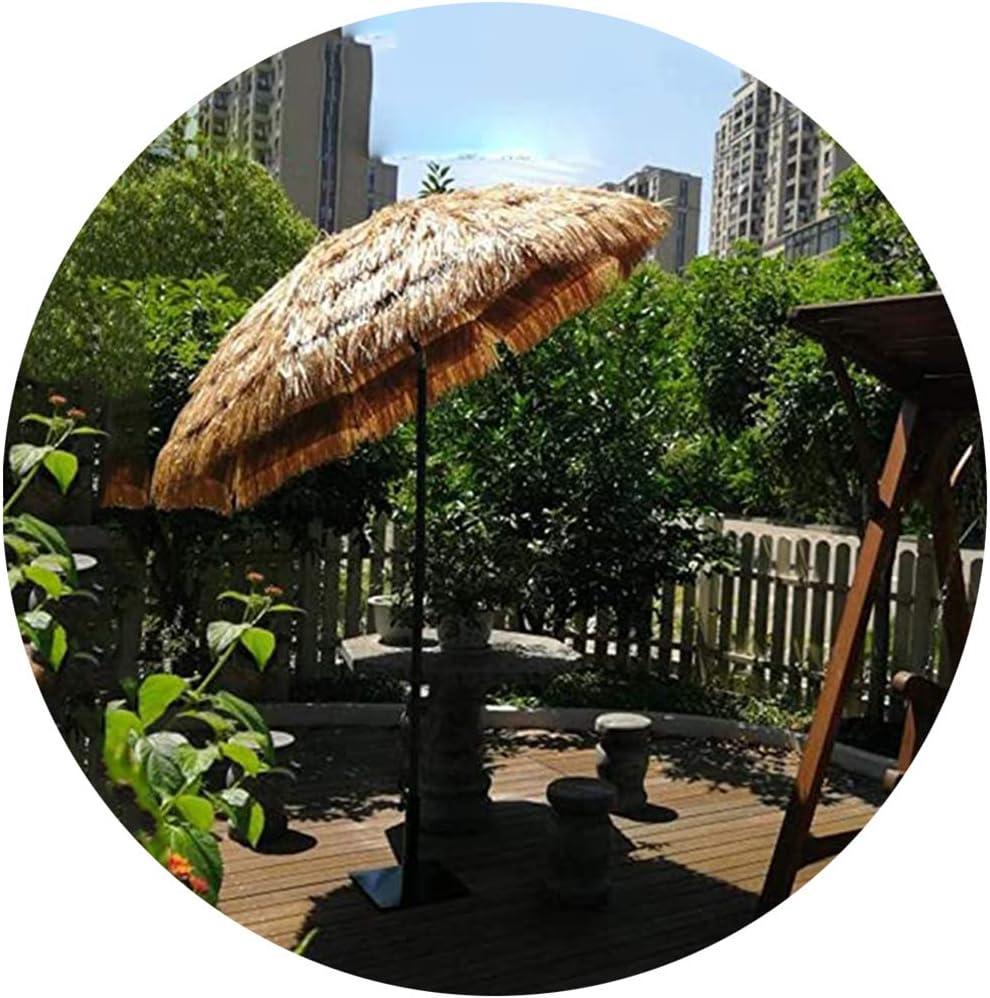 LDFZ Sombrilla De Jardín Redonda De 200 Cm / 6.5 Pies Parasol De Paja De Rafia Sombrilla De Paja Hula Estilo Hawaiano, Puede Inclinarse/Color Natural
