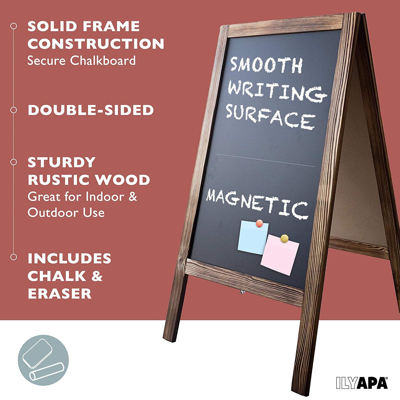Wooden A-Frame Sign with Eraser & Chalk - 40'' x 20'' Magnetic Sidewalk Chalkboard – Sturdy Freestanding Sandwich Board Menu Display for Restaurant, Business or Wedding by Ilyapa (Image #5)