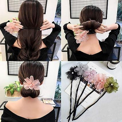 UK/_ WOMEN FAUX PEARL FLOWERS DONUT BUN MAKER HEADBAND HAIR STYLING TOOLS NICE