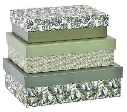 Item Set 3 Cajas cartón Forrado 23x17x7, Verde