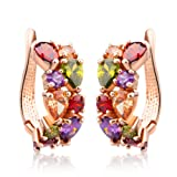 Amazon Price History for:Bamoer Rose Gold Plated Prongs Swarovski Crystal Element Cubic Zirconia Multi-Color Stud U Earrings