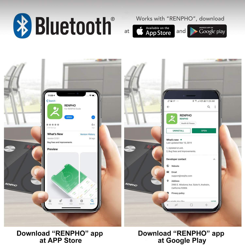 USB Ricaricabile Bilancia Pesapersone Analisi Della Composizione Corporea RENPHO Bilancia Bluetooth Digitale con App BMI Peso Corporeo