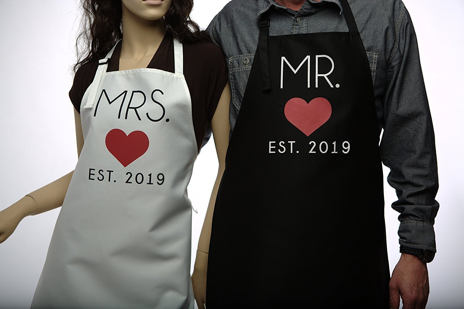 Mr. and Mrs. 2017 Couples Kitchen Aprons (2-Piece Set) Cute, Funny Cooking Bibs for Wedding Marriage Newlyweds Kitsch N Charm
