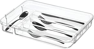 "iDesign Crisp BPA-Free Plastic Kitchen Silverware Drawer Organizer 5 to 6 Compartments, 9.8"" x 14.25"" x 2"", Cutlery Tray - Expandable"
