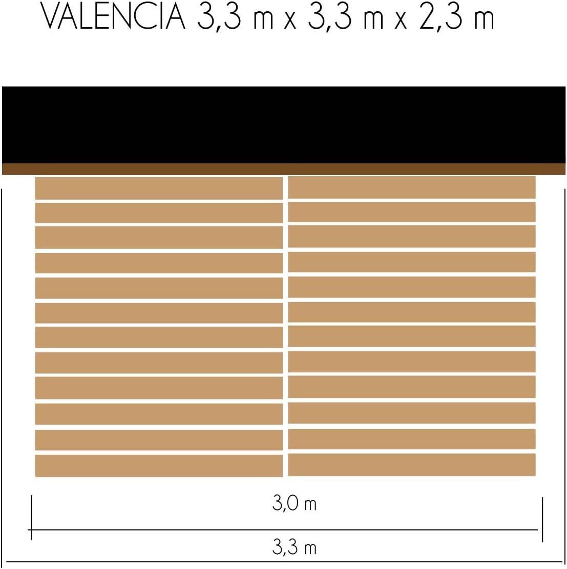 cadema Jardín Casa Valencia de madera, incluye suelo, 3, 3 m x 3 ...