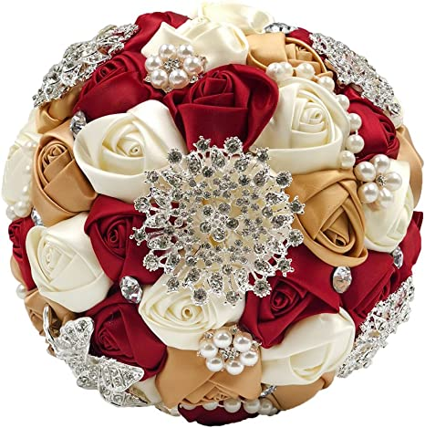 Red Bling Wedding Bouquet Bridesmaids Bouquets Artificial Wedding Flowers Rose Rhinestones Rose Bridal Bouquet