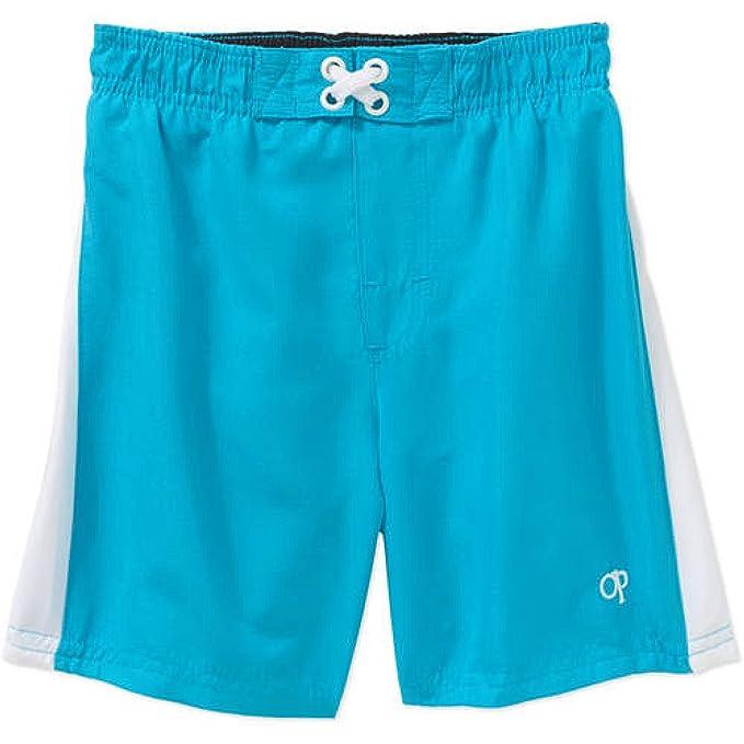 88e3721b Amazon.com: Op Baby Boy Printed Swim Trunks (0-3 months, Bright Blue ...
