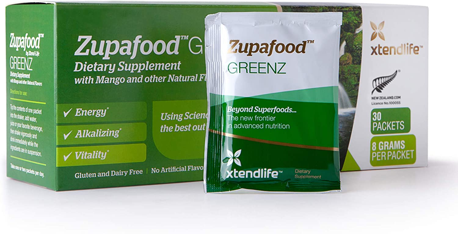 Xtend-Life Zupafood GREENZ Superfood - Super Greens Powder with Wheatgrass, Spirulina, Barley, Mango & Other Natural Flavors - Antioxidant & Energy Support Dietary Supplement, Free Shaker, 30 Packets