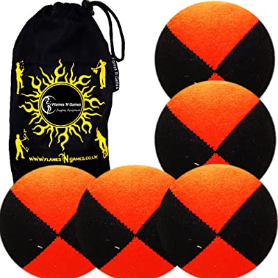 5x Pro Thud Juggling Balls - Deluxe (SUEDE) Professional Juggling Ball Set of 5 with Fabric Travel Bag! (Black/Orange): Toys & Games
