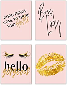 Girl Boss Prints - Set of 4 (11x14) Glossy Blush Pink and Gold Inspirational Hustle Office Motivational Poster Wall Art Women Decor Fashionista Quotes - Lips and Lashes Lady