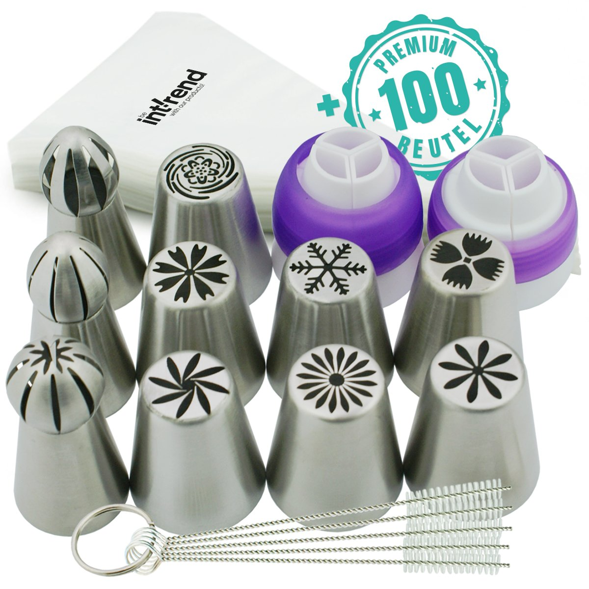 int!rend Russian Nozzles Set Professional Standard │ 10 Seamlessly Crafted Spray Nozzles, 2 Colour Adapters for up to 3 Colours per Flower, Five Cleaning Brushes and 100 Disposable Piping Bags
