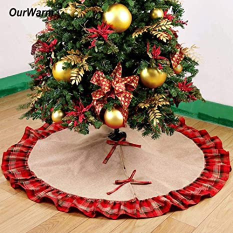 decoration christmas plaid buffalo 48 inch buffalo plaid christmas tree skirt new year christmas decorations for